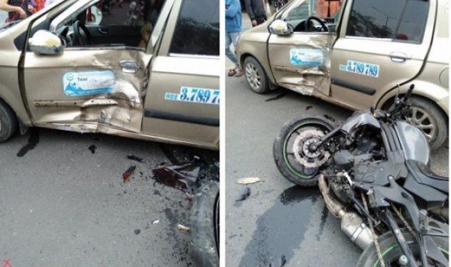 Xe phân phối lớn lao như gió rồi đâm sầm vào taxi, biker bị hất bay lên không trung